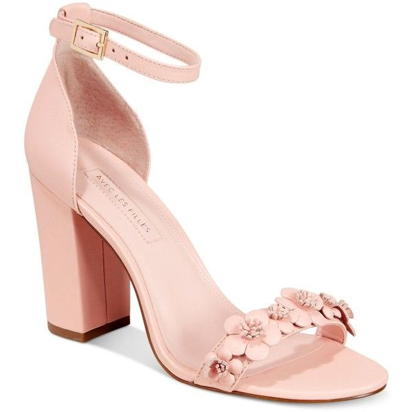 Avec Les Filles Michele Embellished Two-Piece Sandals found on Polyvore featuring shoes, sandals, heels, pale peach, floral-print shoes, strappy block heel sandals, floral sandals, block heel sandals and strappy shoes