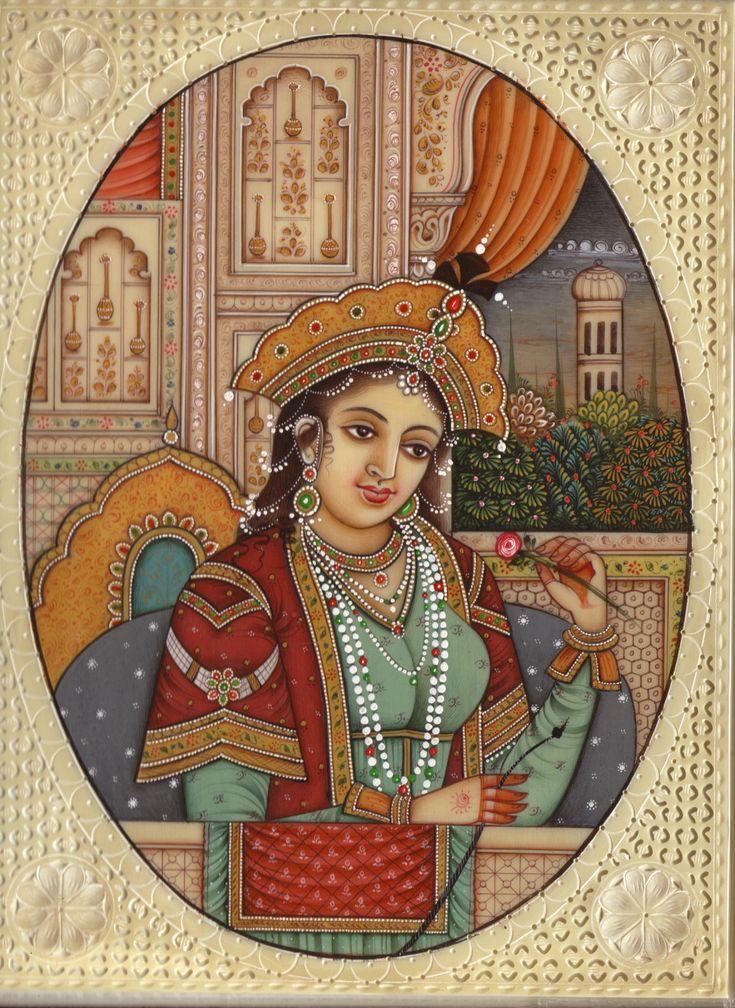 MUMTAZ+mahal | Shah Jahan Mumtaz Mahal Mughal Painting HandPainted Moghul Empire ...
