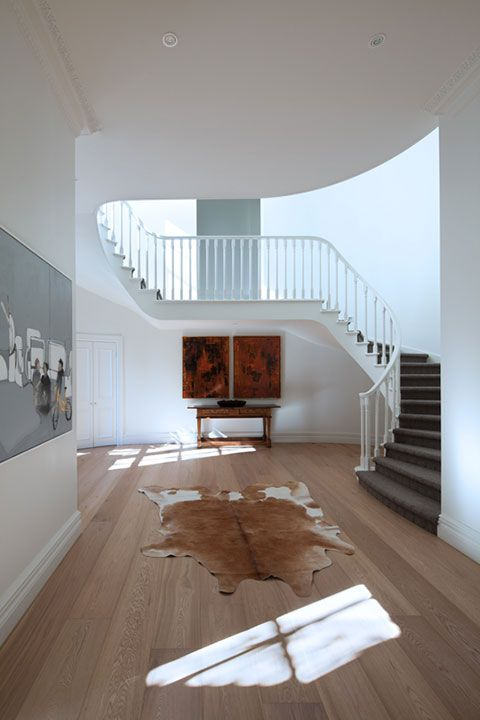 White Smoked American Oak timber floorboards have been used here by Ascui & Co. Architects.  www.royaloakfloors.com.au