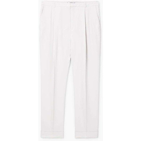 MANGO Flowy straight-fit trousers (52 CAD) ❤ liked on Polyvore featuring pants, white lined pants, white cuffed pants, lined pants, straight pants and cuff pants