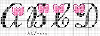 Ângela Bordados: Lacinhos para princesas (Ganz viele Kreuzstich-Alphabete)