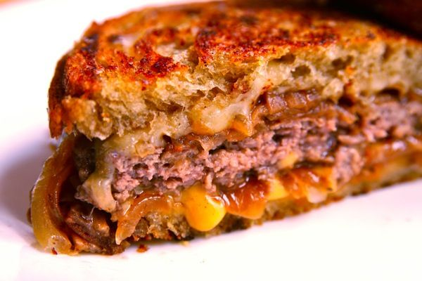 The Ultimate Patty Melt | Serious Eats.  Seriously the BEST patty melt I've ever had.. it's involved, not something that can be whipped up in a few minutes but oh so worth all the steps - especially the slow cooking of the onions. I also added a packet of Lipton beefy mushroom soup mix to burger to give an added kick. Used American and Jarlsberg cheese. Worth it! llc