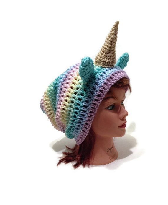 Crochet Unicorn Outfit : ... Unicorn Cosplay, Hat with Ears, Kawaii Unicorn Hat, Unicorn Costume