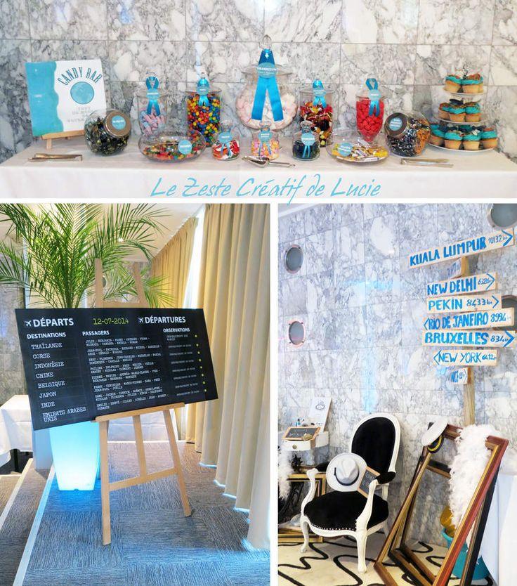 Plan de table , Photobooth et Candy bar sur le thème du voyage.