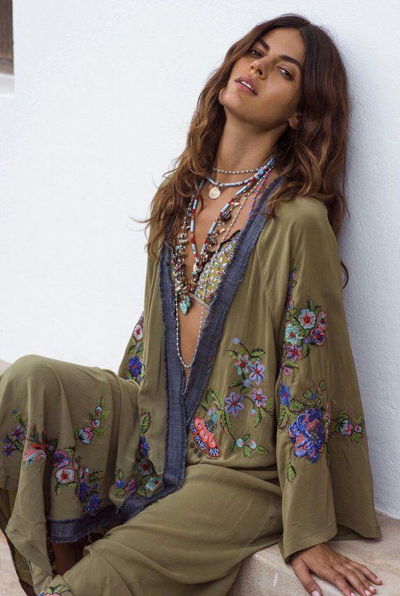 Boho Kimono Sleeve Dress Bohemian Hippie