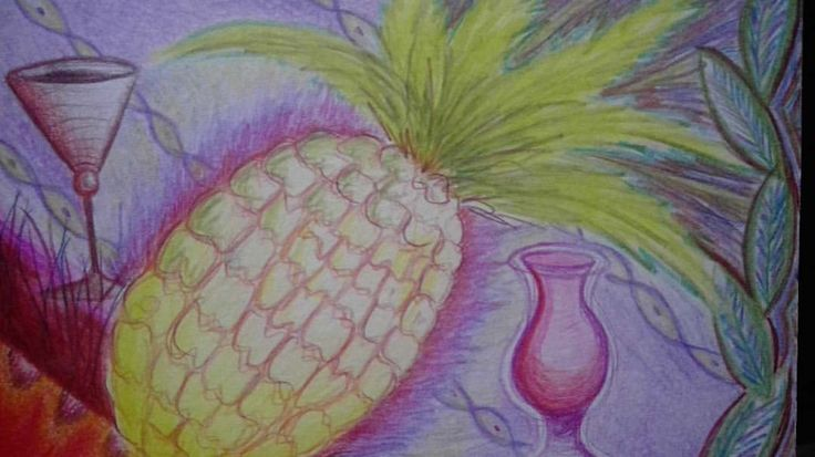 Pineapple cocktail. Colored pencils.  #pineapple #drawing #cocktails #cartoon #retroflamingo #simplepleasures