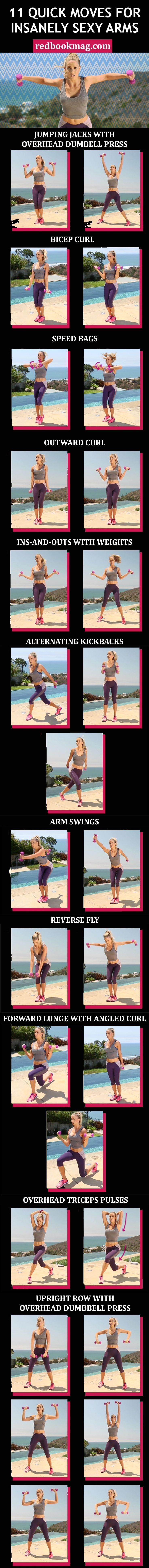 SEXY ARM WORKOUT FOR WOMEN: Grab a set of 2- to 3-pound dumbbells, and do 20 to 30 reps of each move in quick succession to tone your arms, back, chest, and legs. Repeat the entire sequence two to three times to get toned arms fast! Click through for the entire arm workout with weights that you can do at home or at the gym. #totalbodytransformation