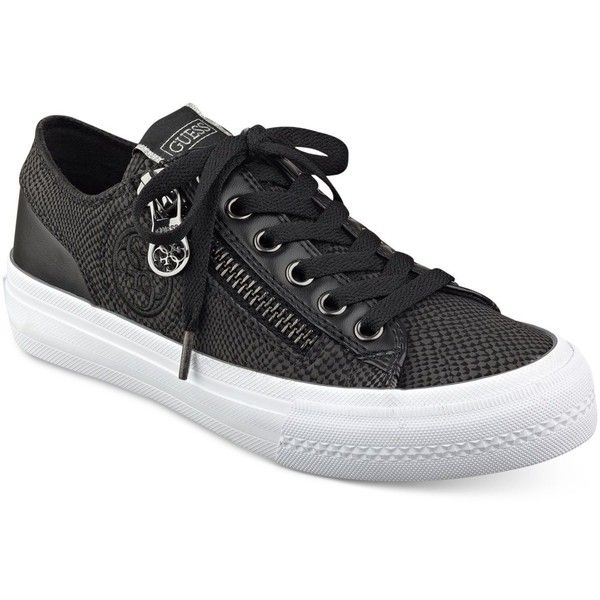Guess Women's Gemica Lace-Up Sneakers ($69) ❤ liked on Polyvore featuring shoes, sneakers, black, laced up shoes, black shoes, guess sneakers, lace up shoes and black lace up shoes