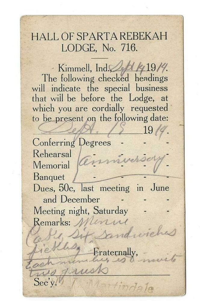 1914 Postcard Hall Of Sparta Rebekah Lodge No 716 Kimmell