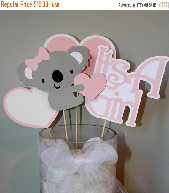 Check out this item in my Etsy shop https://www.etsy.com/ca/listing/540505247/its-a-girl-koala-baby-shower-centerpiece