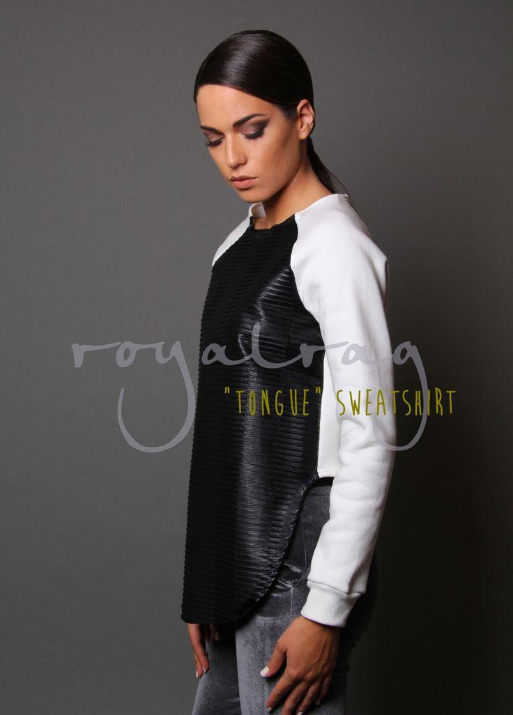Tongue Sweatshirt www.royalrag.eu #royalrag #leather #sweatshirt #blacknwhite #black #white #style