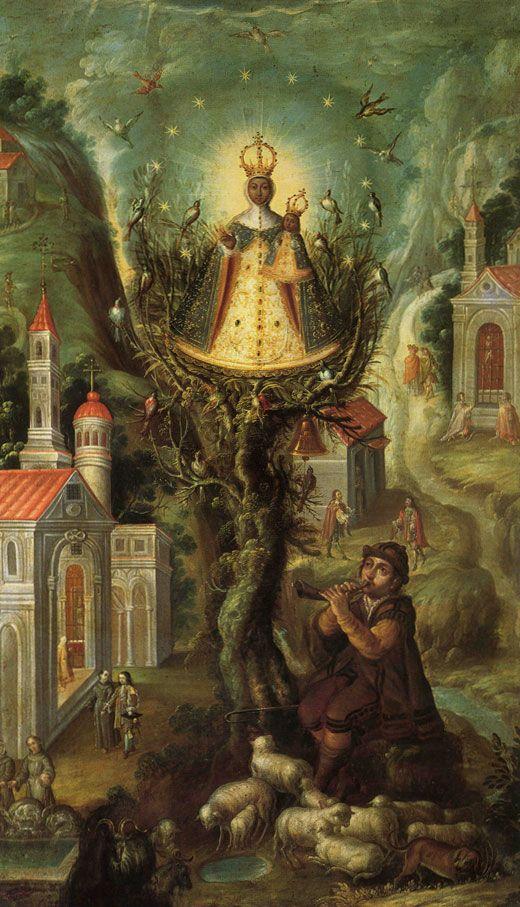 1690-00 - La Virgen de Aranzazú - Cristóbal de Villalpando - Óleo sobre tabla - 184,3x108cm - Colegio de la Paz, Vizcaínas México