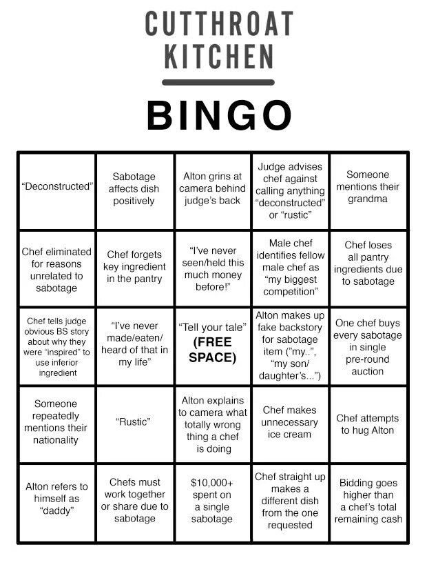 Cutthroat Kitchen Bingo