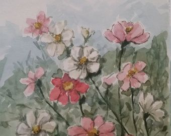 Bloemen-aquarel van watercolorkarte op Etsy