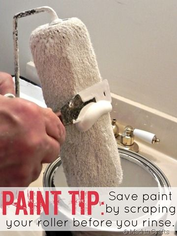 Paint saving trick--rest the edge of your paint roller on the side