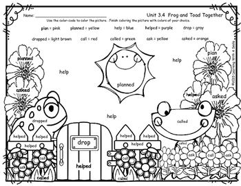 Reading Street Supplement for Frog and Toad Together - Spelling Words - First Grade - Unit 3.4 FREEBIE - Color By Word SpellingI hope you enjoy this free Reading Street Common Core Supplement for Frog and Toad Together.  Children simply color the picture by following the color code.My students love these color by word activities!