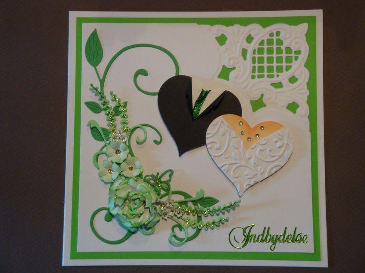 (Made by Susanne Elfrom Nguyen) Kort. Invitation til Gitte & Per´s bryllup (materialer fundet hos http://www.bbhobby.dk/ )