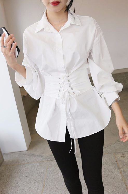 This corset shirt hides the bulge to reveal a new sexy YOU!