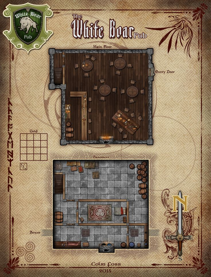 The White Boar Pub RPG Map by
