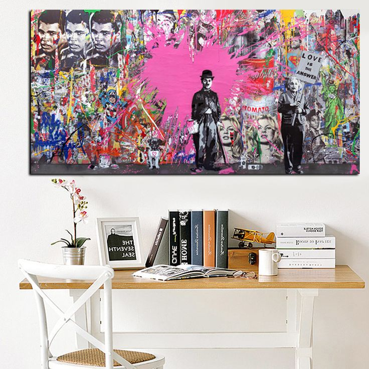 Pop Banksy Art Graffiti Charlie Chaplin Famous Person Oil Painting HD Print on Canvas Modern Wall Art for Living Room Cuadros-in Painting & Calligraphy from Home & Garden on Aliexpress.com | Alibaba Group