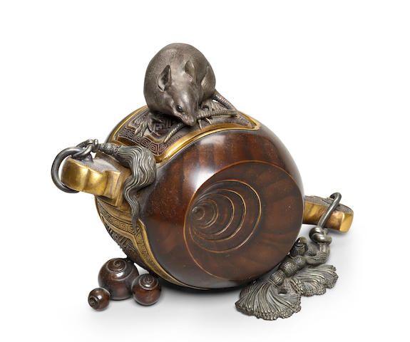 A bronze and mixed-metal koro (incense burner) Meiji era (1868-1912), late 19th century