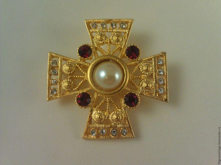 Купить Брошь мальтийский крест, винтаж - мальтийский крест, брошь крест, крест брошь