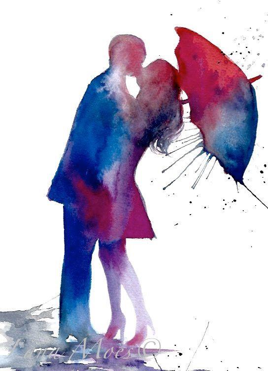 Love Paris Romance Kiss Red Umbrella Original by LanasArt on Etsy