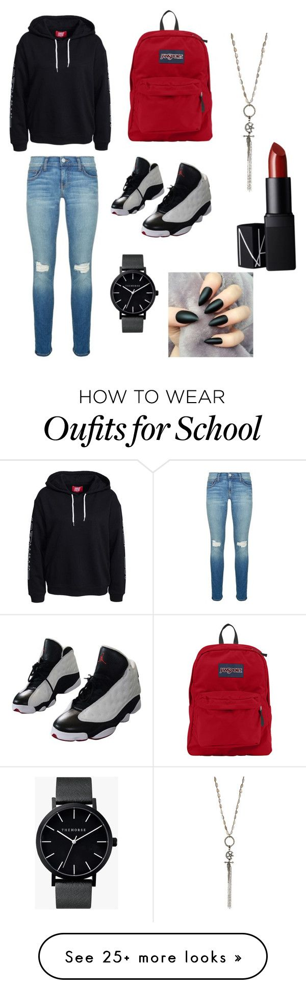 """outfit for school"" by captainncali on Polyvore featuring moda, Rebecca Minkoff, NIKE, JanSport, The Horse, Love Heals e NARS Cosmetics"