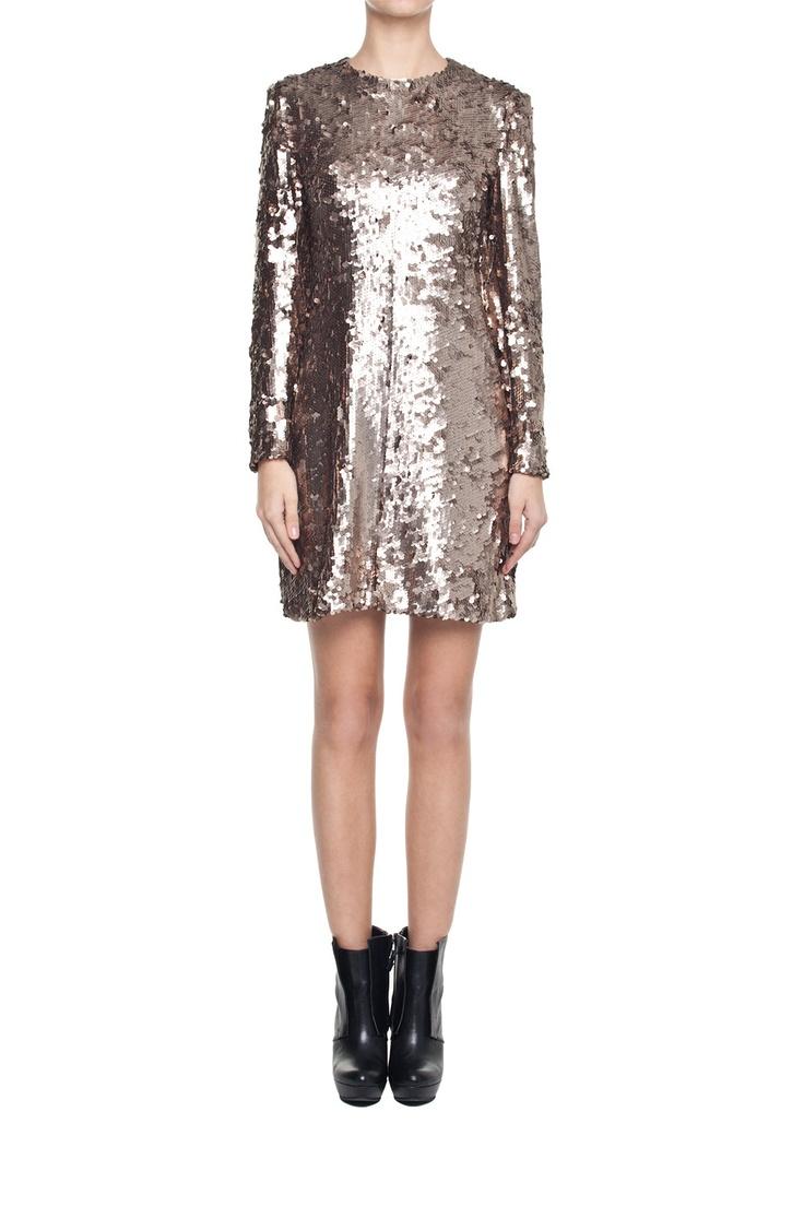 Sukienka ze złotymi cekinami | Ubrania \ Sukienki \ Mini Ubrania \ Sukienki \ Wieczorowe Ubrania \ Sukienki \ Koktajlowe Projektanci \ Michał Szulc Ubrania \ Wszystkie ubrania Sukienki Wszystkie ubrania | MOSTRAMI.PL