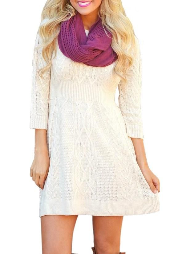 Robe Pull Tricote Cable Blanc Manches 3/4 Pas Cher www.modebuy.com @Modebuy #Modebuy #Blanc #mode #simple #women #trendy