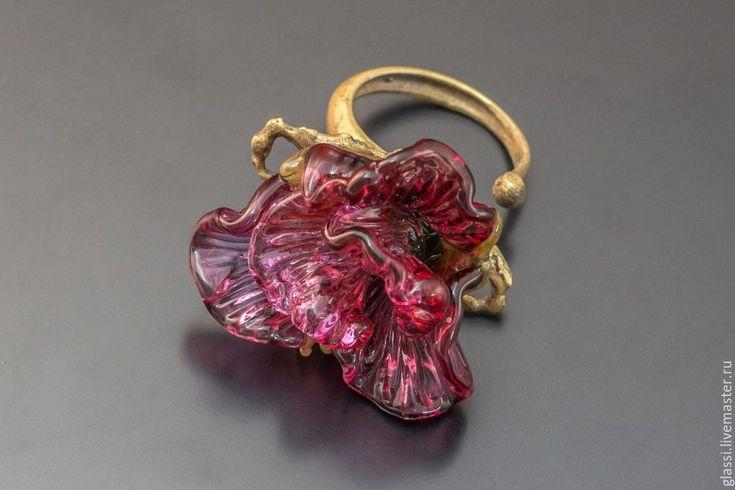 """Купить Кольцо """"Изабелла"""" (лэмпворк) - бордовый, винный цвет, стекло, лэмпворк, кольцо, кольцо из стекла"""