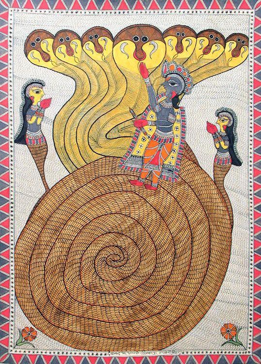 Lord Krishna Kaliya Daman - Madhubani Painting $49.50 only