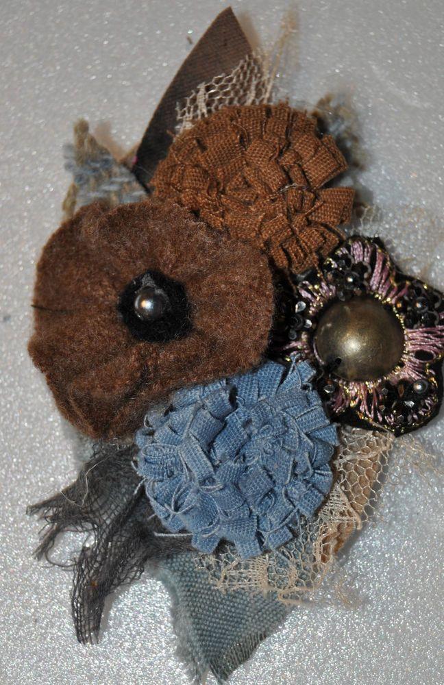 cashmere brown blue CORSAGE scarf hat pin flower hair clip brooch vintage felt