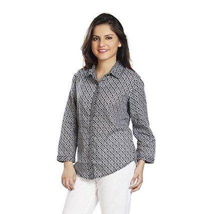 Folk Finesse Women's Button Down Shirt(FFP010616 (S)_Black_Small)