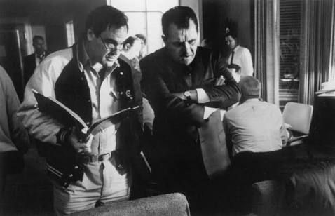 """Oliver Stone directing Anthony Hopkins in the film """"Nixon"""" (1995)"""