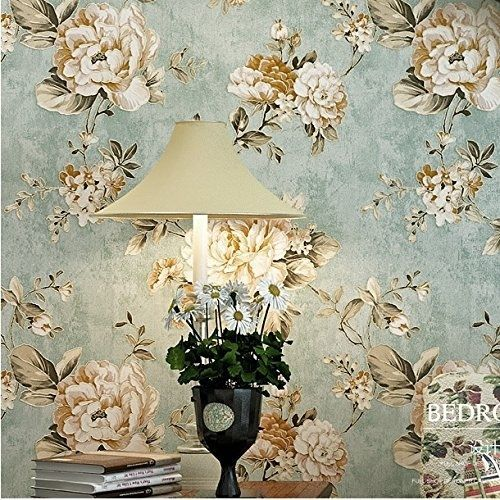 haokhome dr3073 non woven vintage flower wallpaper blue home bedroom wallpaper - Flower Wallpaper For Home
