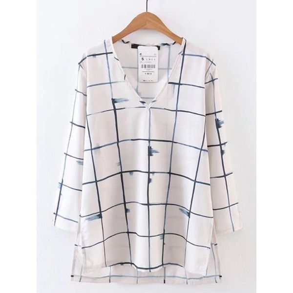 SheIn(sheinside) V-Cut Windowpane High Low Blouse (20 CHF) ❤ liked on Polyvore featuring tops, blouses, white, collar top, tartan blouse, white tops, white long sleeve top and collar blouse