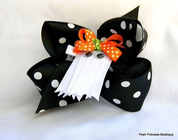 Ghost hair bow Black Orange White Halloween hair bow for girls baby toddler white ghost ribbon sculpture clippie