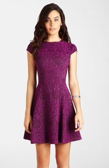 LABEL by five twelve Jacquard Fit & Flare Dress available at #Nordstrom (Probably just my personal obsession with plum-colored clothing.)