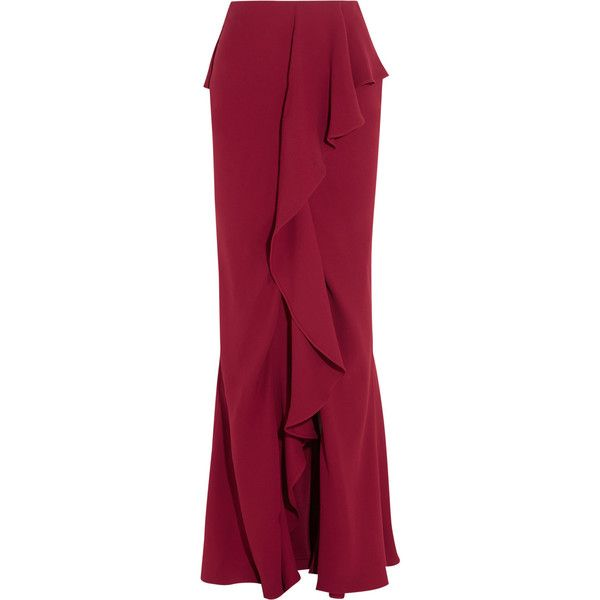 Alexander McQueen Ruffled silk-crepe maxi skirt (24 320 SEK) ❤ liked on Polyvore featuring skirts, burgundy, long red skirt, ruffle skirt, draped skirt, red skirt and maxi skirt