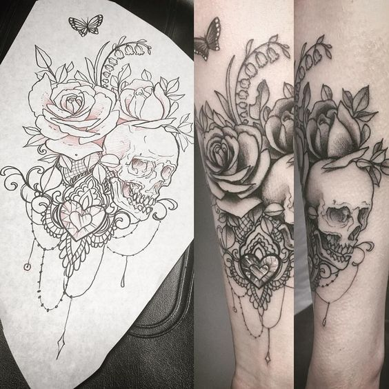 Love it when girls add in skulls to their lacy, delicate, feminine tattoos! Skulls are beautiful! ...