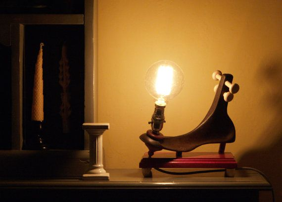 Upcycled Lamp  No 3 - a funky lamp made from an old cobbler's last.