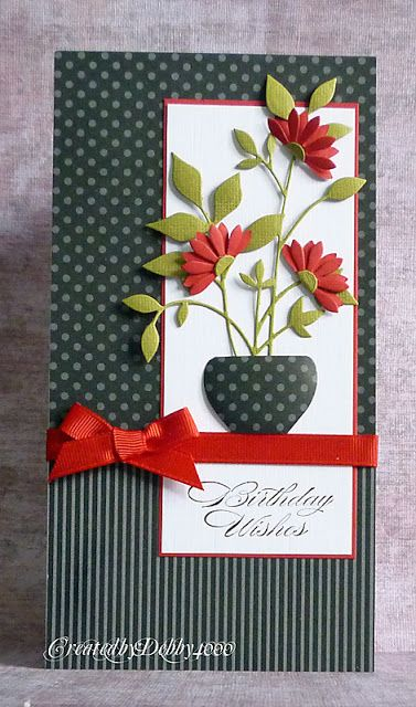 """By Debby. Uses My Favorite Things """"Upsy Daisy"""" die and Memory Box """"Fresh Foliage"""" die. Love the color combo and the striped & dotted paper together."""