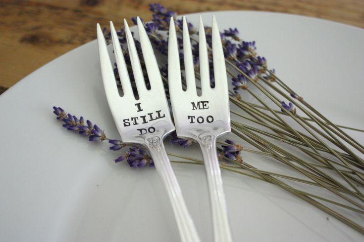 I Still Do, Me Too(TM) Wedding Cake Fork Set  - Hand Stamped - Vintage Wedding - Vow Renewal