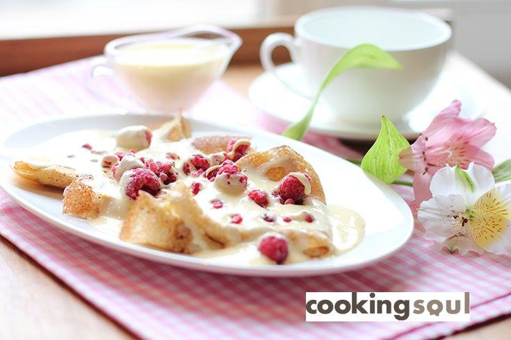 Масленица: овсяные блины с малиной и creme anglaise (английский крем) | CookingSoul.ru