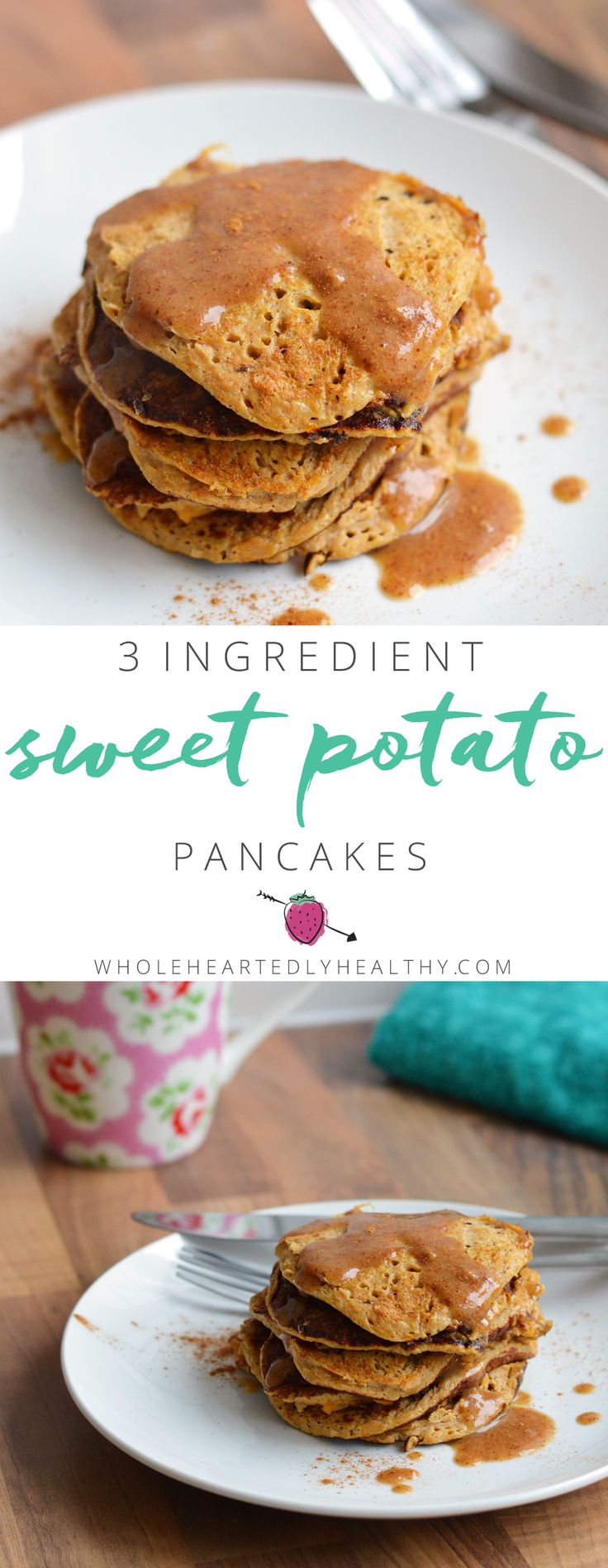 3 Ingredient Sweet Potato Pancakes - healthy pancakes that are gluten free, dairy free and paleo! Wholeheartedly Healthy | UK Healthy Living and Lifestyle Blog