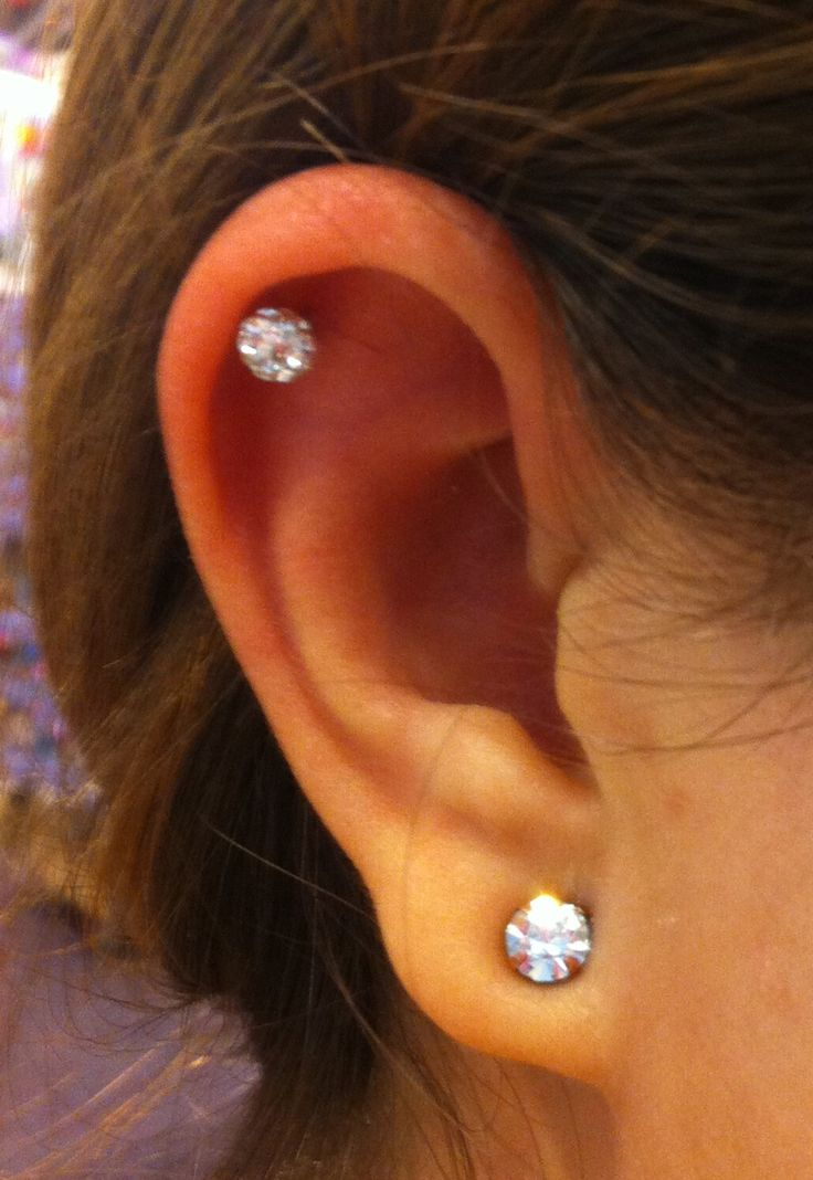 Just got this piercing at Claire's! Crystal fireball | Ear ...