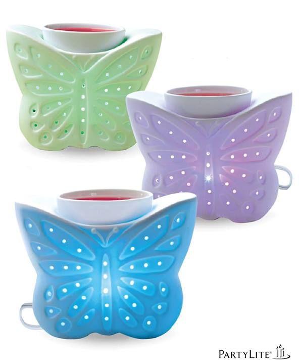 Scentglow Zauber - Elektrische Duftlampe Bunter Schmetterling. Wechselt kontinuierlich die Farbe. Porzellan. https://susannerentsch.partylite.ch/Shop