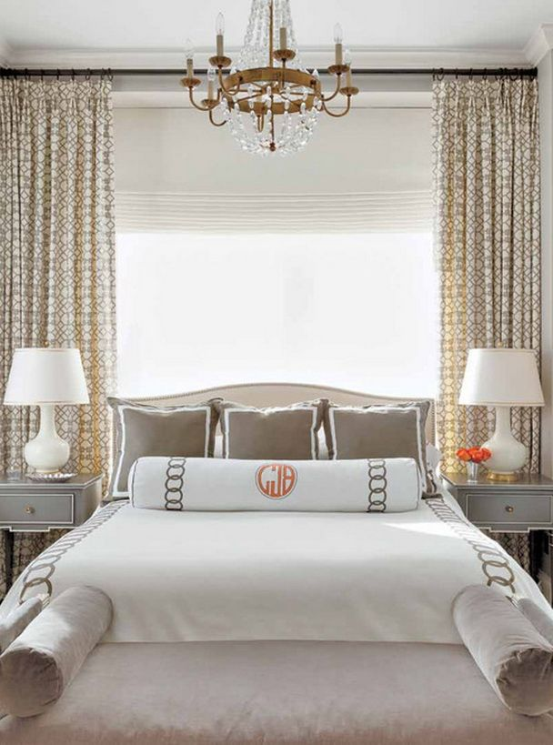Modern White and Gray Bedroom Curtains behind the Bed