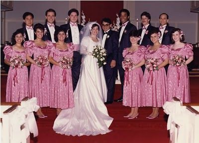 "Anybody miss the ""stellar"" pink bridesmaid dress of the 70's?"
